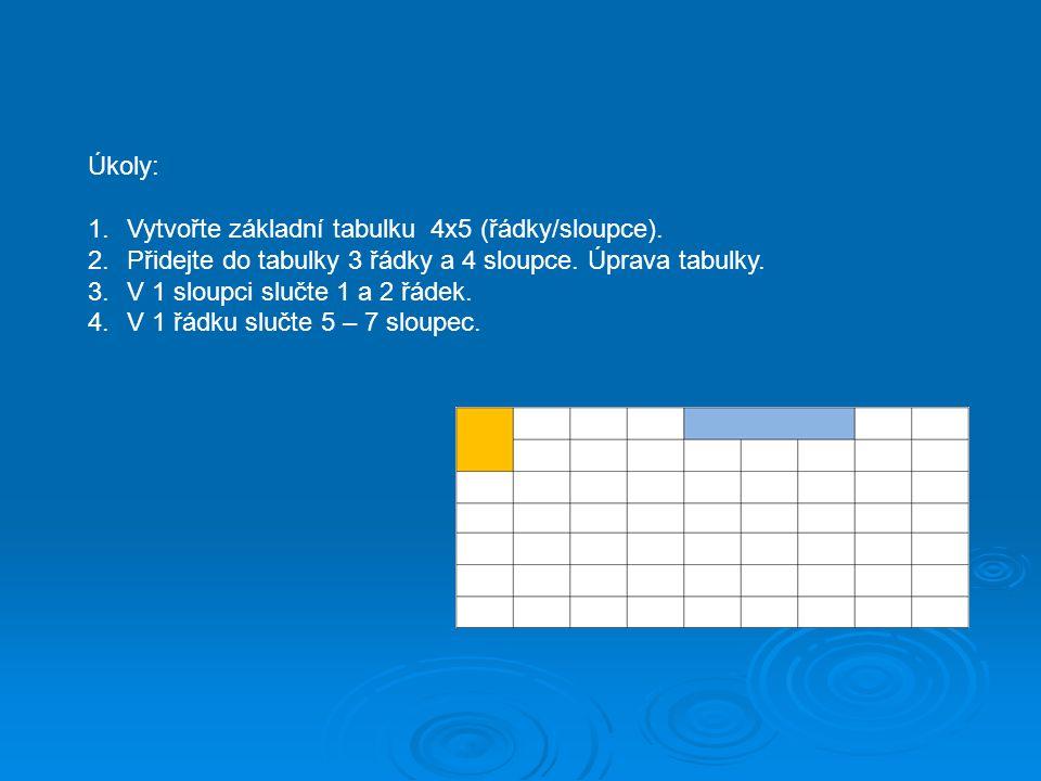 Úkoly: 1.Vytvořte základní tabulku 4x5 (řádky/sloupce). 2.Přidejte do tabulky 3 řádky a 4 sloupce. Úprava tabulky. 3.V 1 sloupci slučte 1 a 2 řádek. 4
