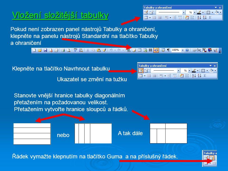 Vložení složitější tabulky Pokud není zobrazen panel nástrojů Tabulky a ohraničení, klepněte na panelu nástrojů Standardní na tlačítko Tabulky a ohran