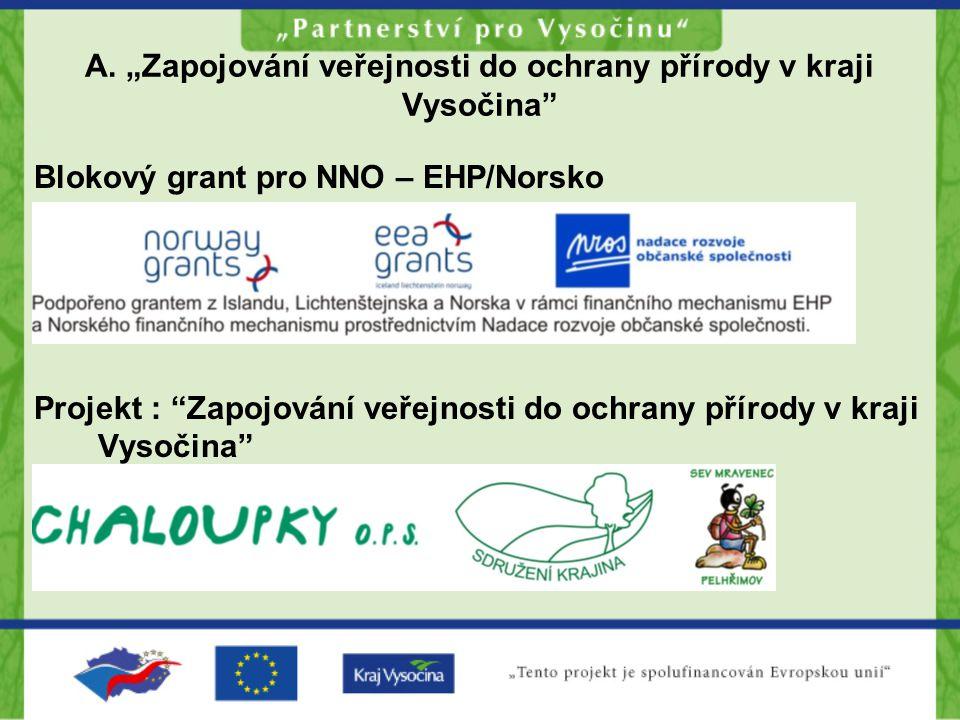"""A. """"Zapojování veřejnosti do ochrany přírody v kraji Vysočina"""" Blokový grant pro NNO – EHP/Norsko Projekt : """"Zapojování veřejnosti do ochrany přírody"""