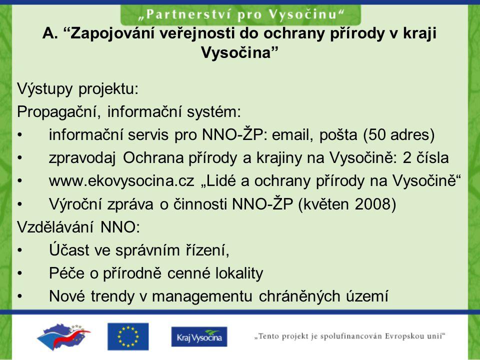 """A. """"Zapojování veřejnosti do ochrany přírody v kraji Vysočina"""" Výstupy projektu: Propagační, informační systém: •informační servis pro NNO-ŽP: email,"""