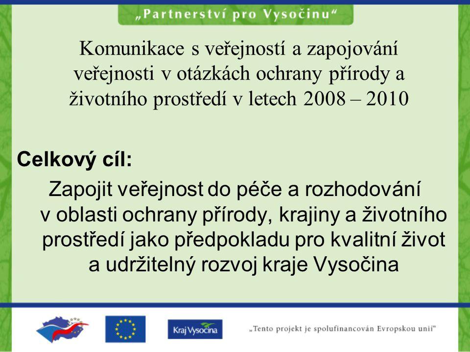 Komunikace s veřejností a zapojování veřejnosti v otázkách ochrany přírody a životního prostředí v letech 2008 – 2010 Celkový cíl: Zapojit veřejnost do péče a rozhodování v oblasti ochrany přírody, krajiny a životního prostředí jako předpokladu pro kvalitní život a udržitelný rozvoj kraje Vysočina