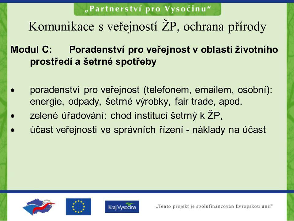 Komunikace s veřejností ŽP, ochrana přírody Modul C:Poradenství pro veřejnost v oblasti životního prostředí a šetrné spotřeby  poradenství pro veřejnost (telefonem, emailem, osobní): energie, odpady, šetrné výrobky, fair trade, apod.