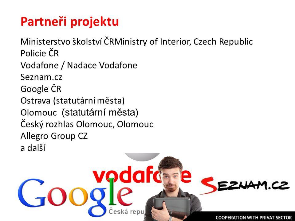 Partneři projektu Ministerstvo školství ČRMinistry of Interior, Czech Republic Policie ČR Vodafone / Nadace Vodafone Seznam.cz Google ČR Ostrava (stat