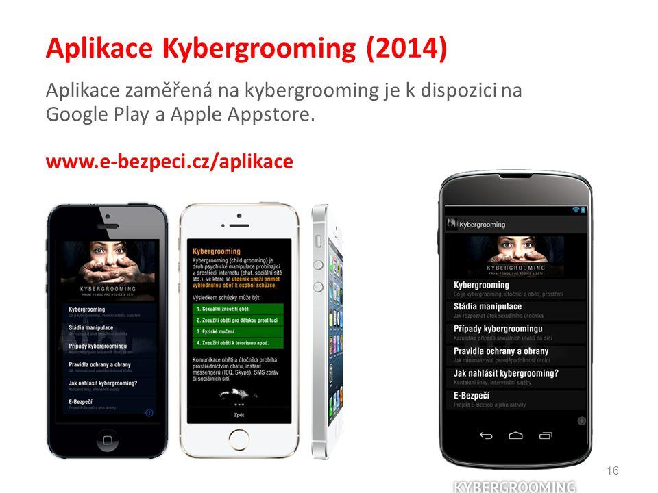 16 Aplikace Kybergrooming (2014) Aplikace zaměřená na kybergrooming je k dispozici na Google Play a Apple Appstore. www.e-bezpeci.cz/aplikace
