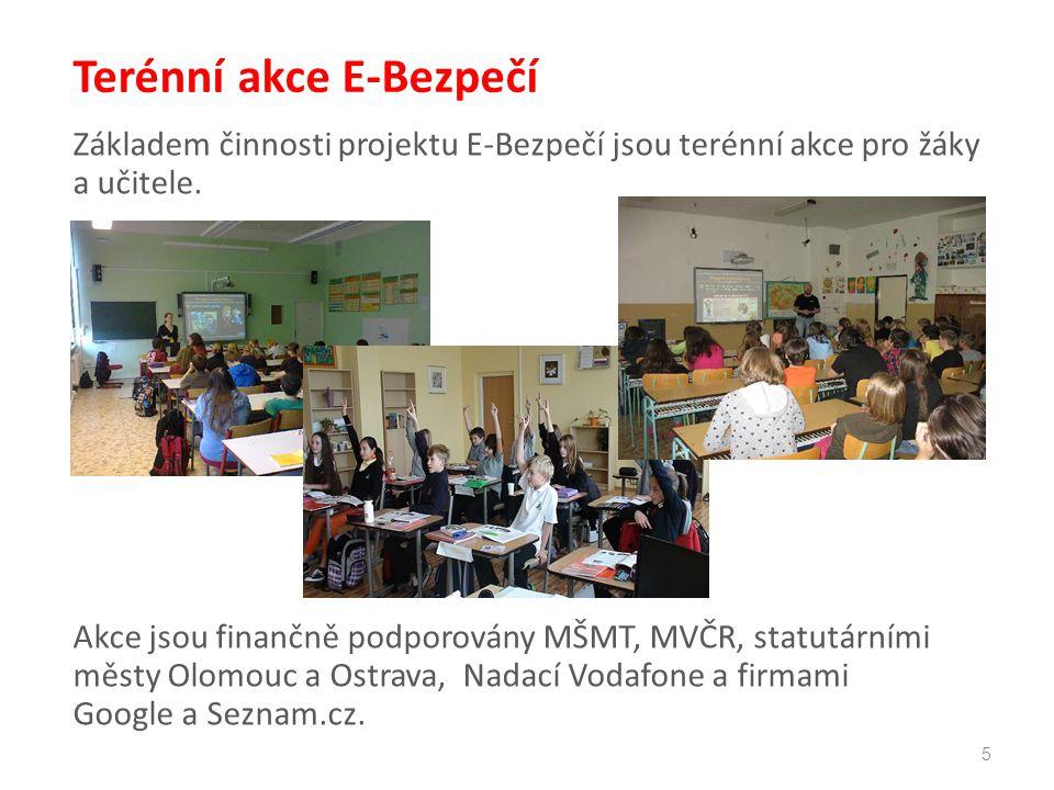 5 Terénní akce E-Bezpečí Základem činnosti projektu E-Bezpečí jsou terénní akce pro žáky a učitele. Akce jsou finančně podporovány MŠMT, MVČR, statutá
