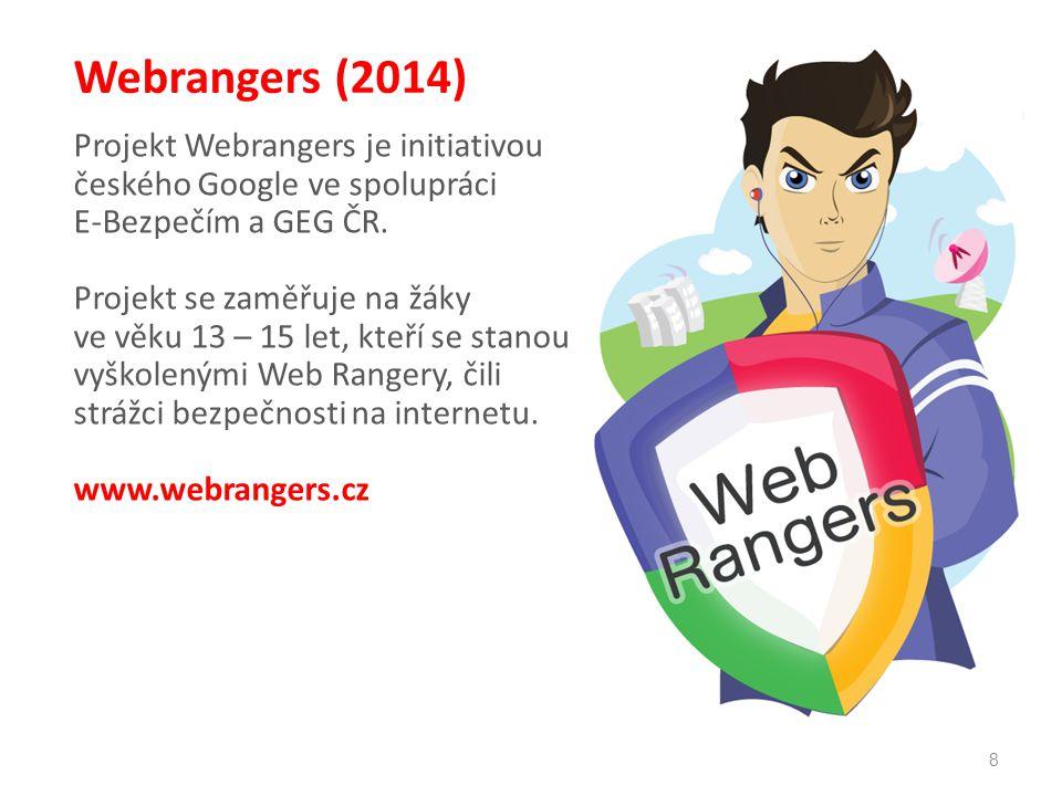 8 Webrangers (2014) Projekt Webrangers je initiativou českého Google ve spolupráci E-Bezpečím a GEG ČR. Projekt se zaměřuje na žáky ve věku 13 – 15 le