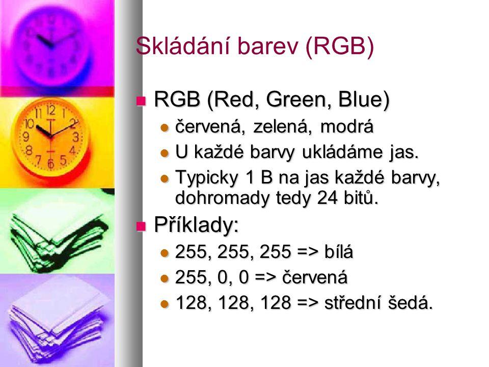 Skládání barev (RGB)  RGB (Red, Green, Blue)  červená, zelená, modrá  U každé barvy ukládáme jas.