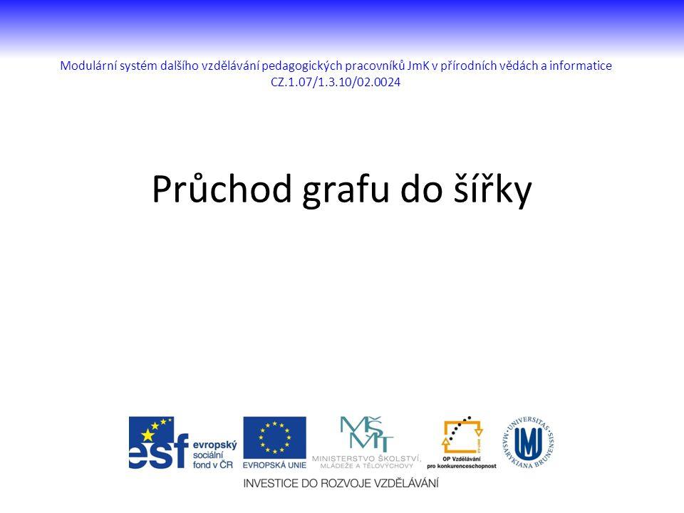 Modulární systém dalšího vzdělávání pedagogických pracovníků JmK v přírodních vědách a informatice CZ.1.07/1.3.10/02.0024 Průchod grafu do šířky