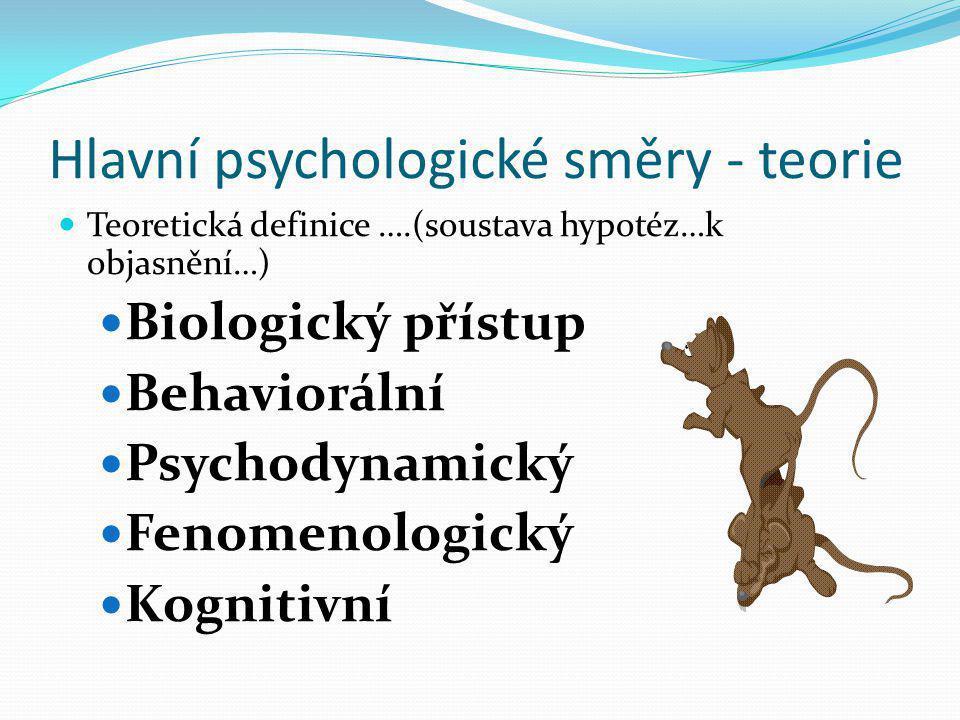 Hlavní psychologické směry - teorie  Teoretická definice ….(soustava hypotéz…k objasnění…)  Biologický přístup  Behaviorální  Psychodynamický  Fe