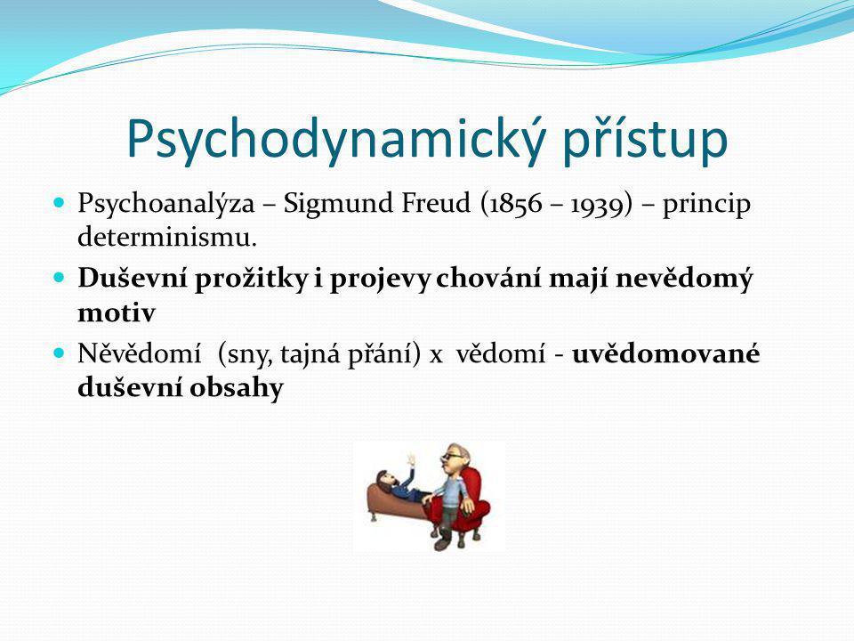 Psychodynamický přístup  Psychoanalýza – Sigmund Freud (1856 – 1939) – princip determinismu.  Duševní prožitky i projevy chování mají nevědomý motiv