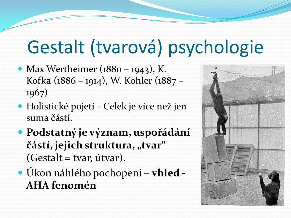 Gestalt (tvarová) psychologie  Max Wertheimer (1880 – 1943), K. Kofka (1886 – 1914), W. Kohler (1887 – 1967)  Holistické pojetí - Celek je více než