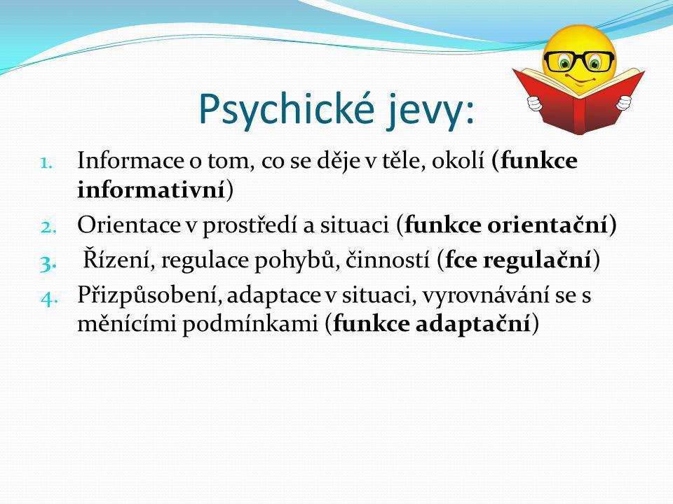 Psychické jevy: 1. Informace o tom, co se děje v těle, okolí (funkce informativní) 2. Orientace v prostředí a situaci (funkce orientační) 3. Řízení, r
