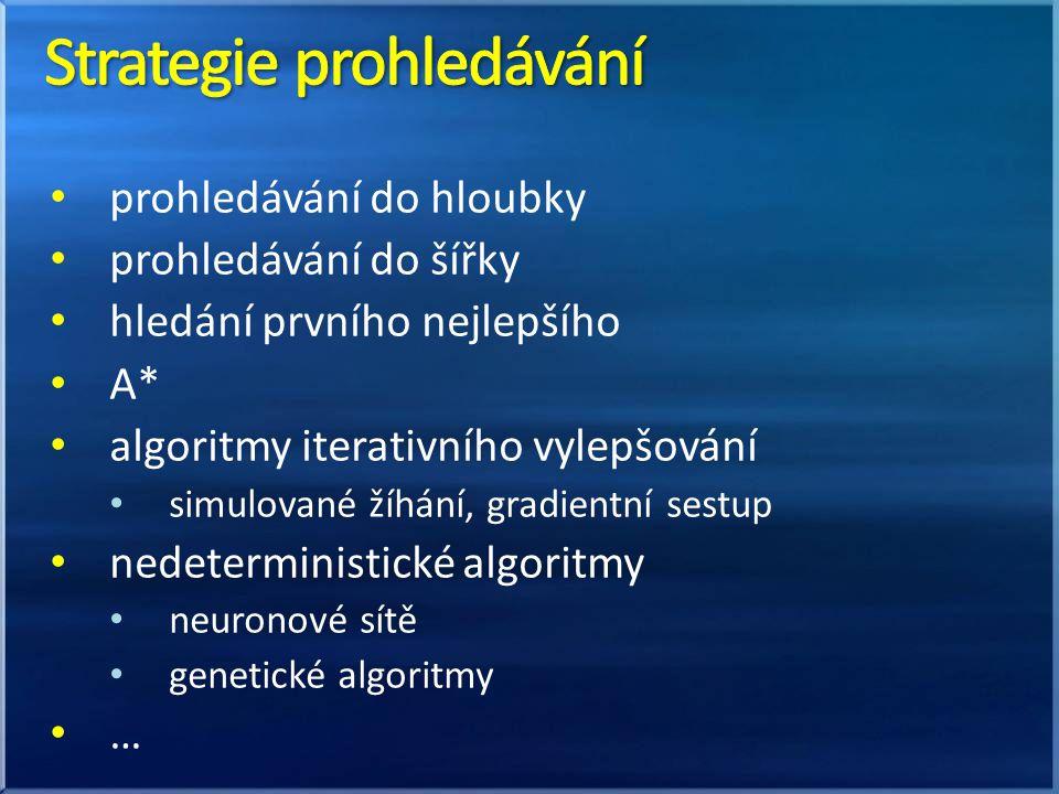 • prohledávání do hloubky • prohledávání do šířky • hledání prvního nejlepšího • A* • algoritmy iterativního vylepšování • simulované žíhání, gradientní sestup • nedeterministické algoritmy • neuronové sítě • genetické algoritmy • …