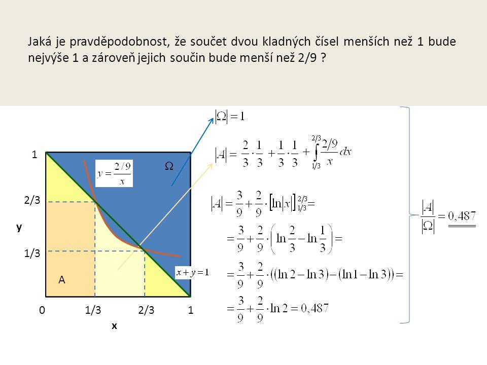 Jaká je pravděpodobnost, že součet dvou kladných čísel menších než 1 bude nejvýše 1 a zároveň jejich součin bude menší než 2/9 .