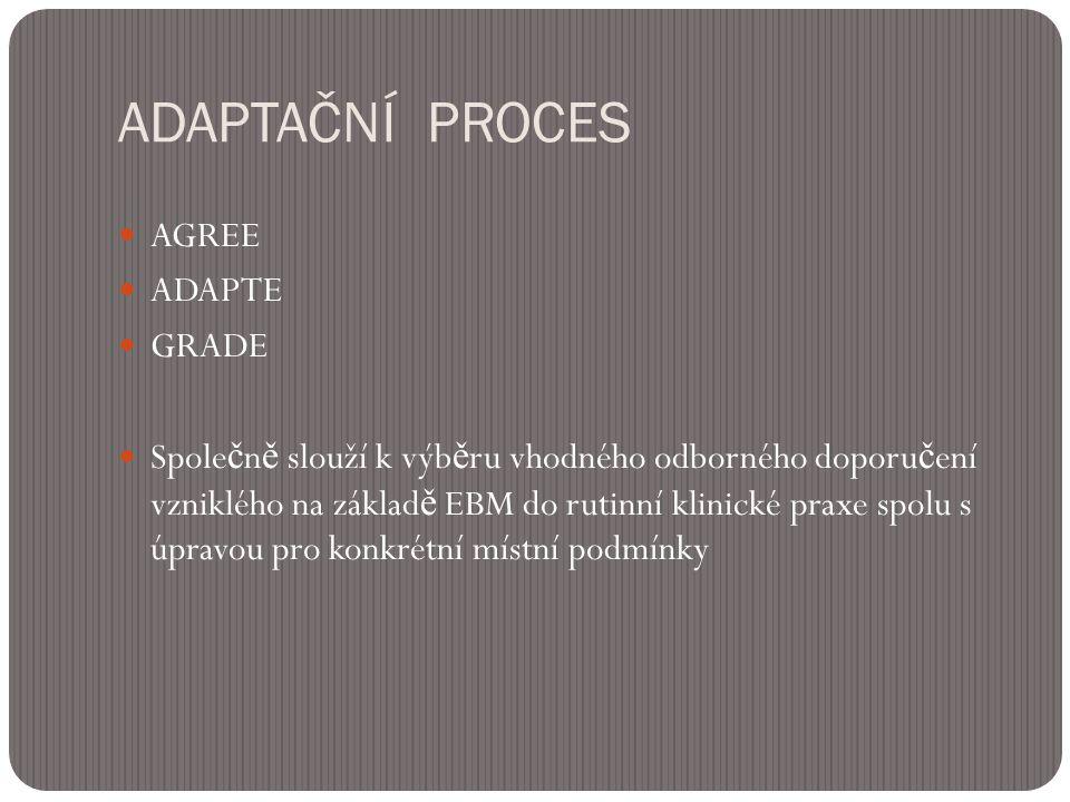 ADAPTAČNÍ PROCES  AGREE  ADAPTE  GRADE  Spole č n ě slouží k výb ě ru vhodného odborného doporu č ení vzniklého na základ ě EBM do rutinní klinické praxe spolu s úpravou pro konkrétní místní podmínky
