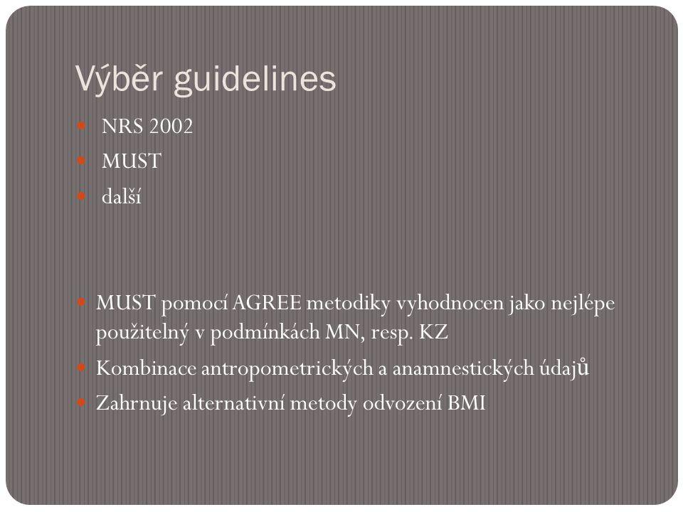 Výběr guidelines  NRS 2002  MUST  další  MUST pomocí AGREE metodiky vyhodnocen jako nejlépe použitelný v podmínkách MN, resp.