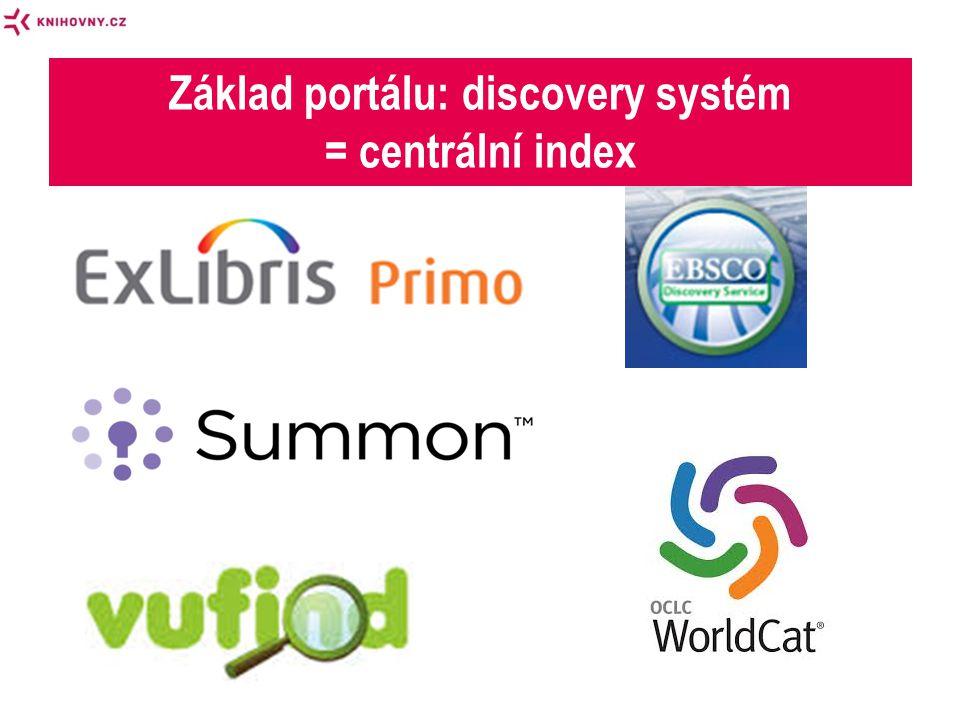 Základ portálu: discovery systém = centrální index