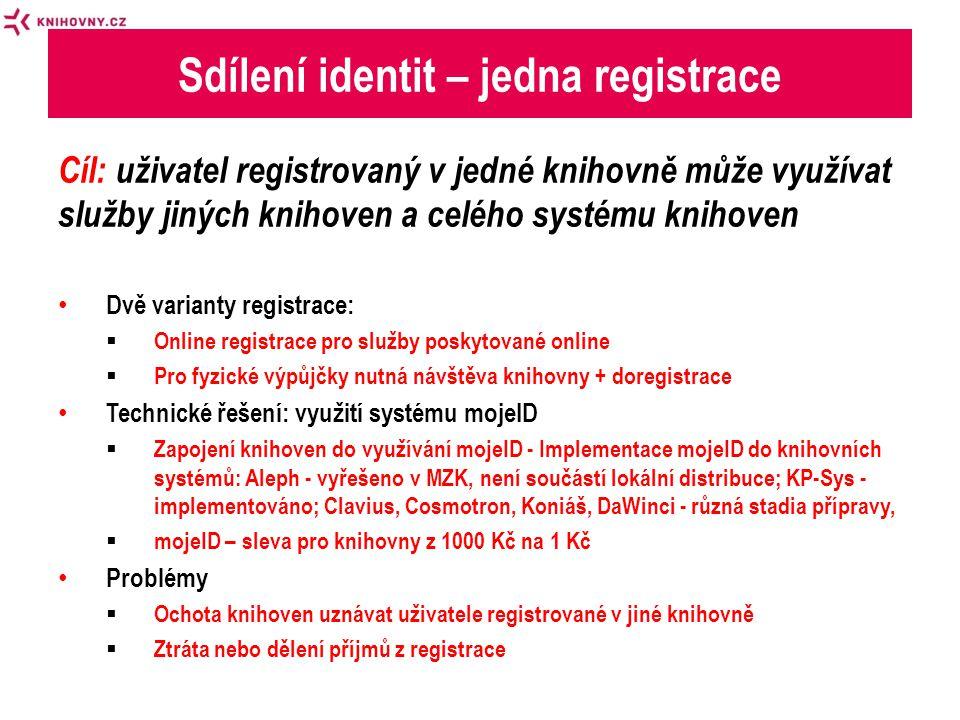 Cíl: uživatel registrovaný v jedné knihovně může využívat služby jiných knihoven a celého systému knihoven • Dvě varianty registrace:  Online registrace pro služby poskytované online  Pro fyzické výpůjčky nutná návštěva knihovny + doregistrace • Technické řešení: využití systému mojeID  Zapojení knihoven do využívání mojeID - Implementace mojeID do knihovních systémů: Aleph - vyřešeno v MZK, není součástí lokální distribuce; KP-Sys - implementováno; Clavius, Cosmotron, Koniáš, DaWinci - různá stadia přípravy,  mojeID – sleva pro knihovny z 1000 Kč na 1 Kč • Problémy  Ochota knihoven uznávat uživatele registrované v jiné knihovně  Ztráta nebo dělení příjmů z registrace Sdílení identit – jedna registrace