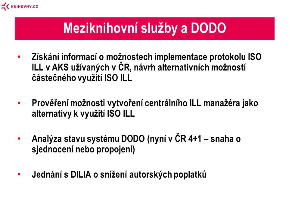• Získání informací o možnostech implementace protokolu ISO ILL v AKS užívaných v ČR, návrh alternativních možností částečného využití ISO ILL • Prověření možnosti vytvoření centrálního ILL manažéra jako alternativy k využití ISO ILL • Analýza stavu systému DODO (nyní v ČR 4+1 – snaha o sjednocení nebo propojení) • Jednání s DILIA o snížení autorských poplatků Meziknihovní služby a DODO