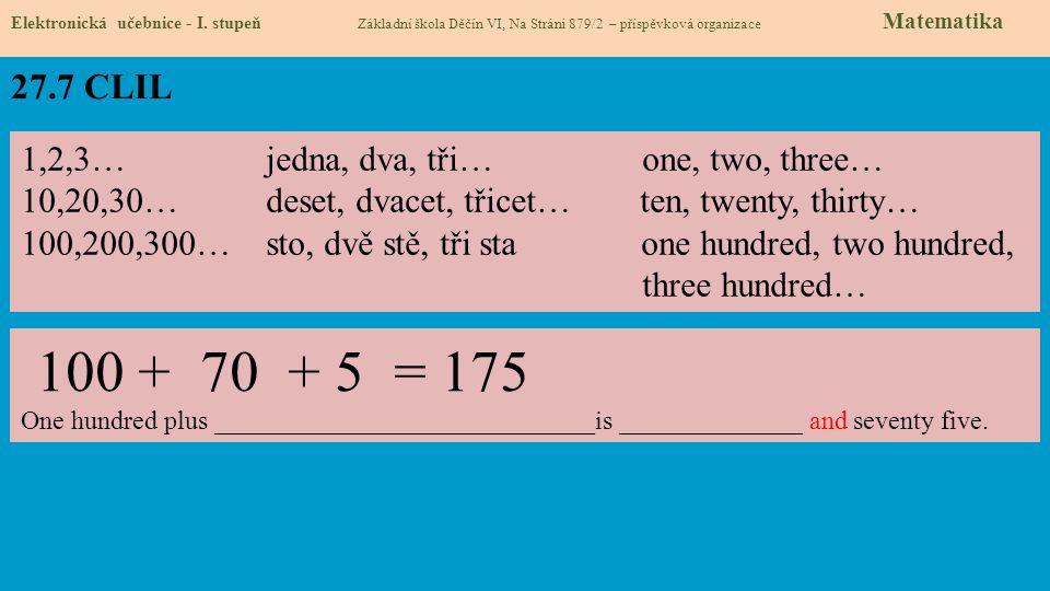 27.7 CLIL Elektronická učebnice - I. stupeň Základní škola Děčín VI, Na Stráni 879/2 – příspěvková organizace Matematika 1,2,3… jedna, dva, tři… one,