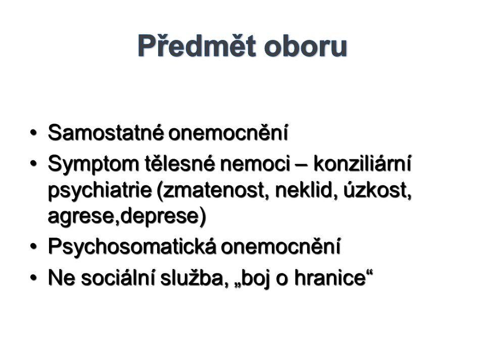 •Samostatné onemocnění •Symptom tělesné nemoci – konziliární psychiatrie (zmatenost, neklid, úzkost, agrese,deprese) •Psychosomatická onemocnění •Ne s