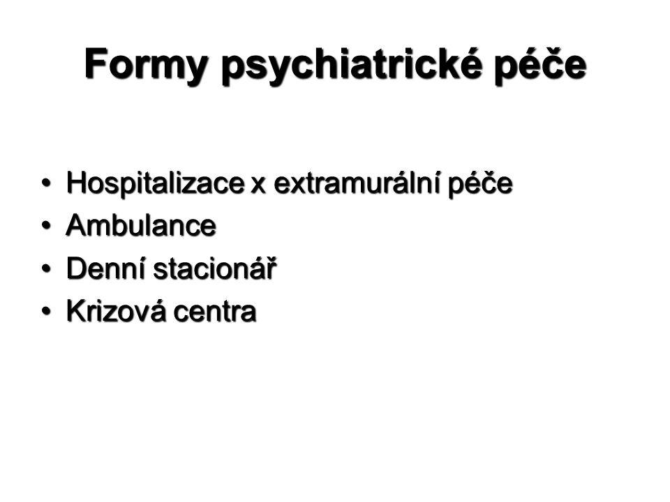 Formy psychiatrické péče •Hospitalizace x extramurální péče •Ambulance •Denní stacionář •Krizová centra