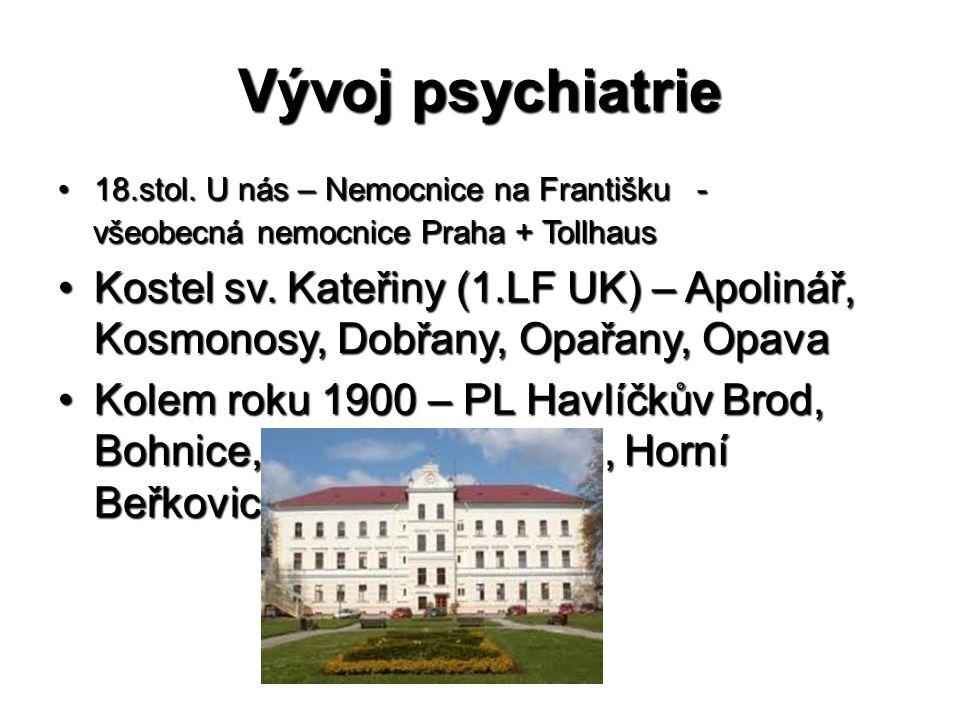 Vývoj psychiatrie •18.stol. U nás – Nemocnice na Františku - všeobecná nemocnice Praha + Tollhaus všeobecná nemocnice Praha + Tollhaus •Kostel sv. Kat