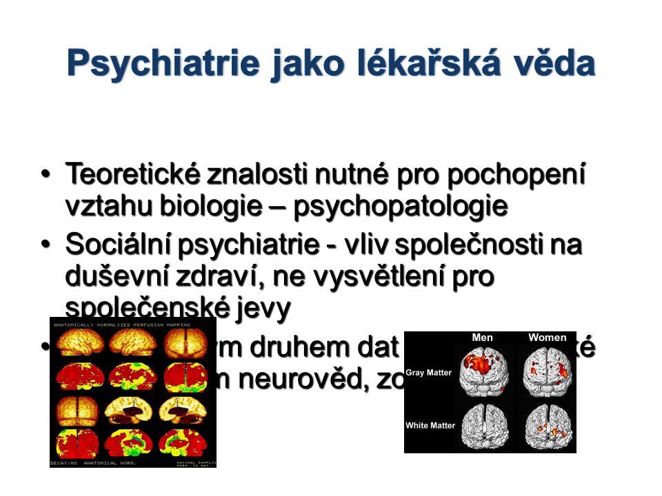 •Teoretické znalosti nutné pro pochopení vztahu biologie – psychopatologie •Sociální psychiatrie - vliv společnosti na duševní zdraví, ne vysvětlení p