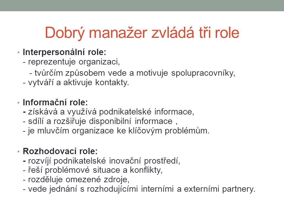 Dobrý manažer zvládá tři role • Interpersonální role: - reprezentuje organizaci, - tvůrčím způsobem vede a motivuje spolupracovníky, - vytváří a aktiv