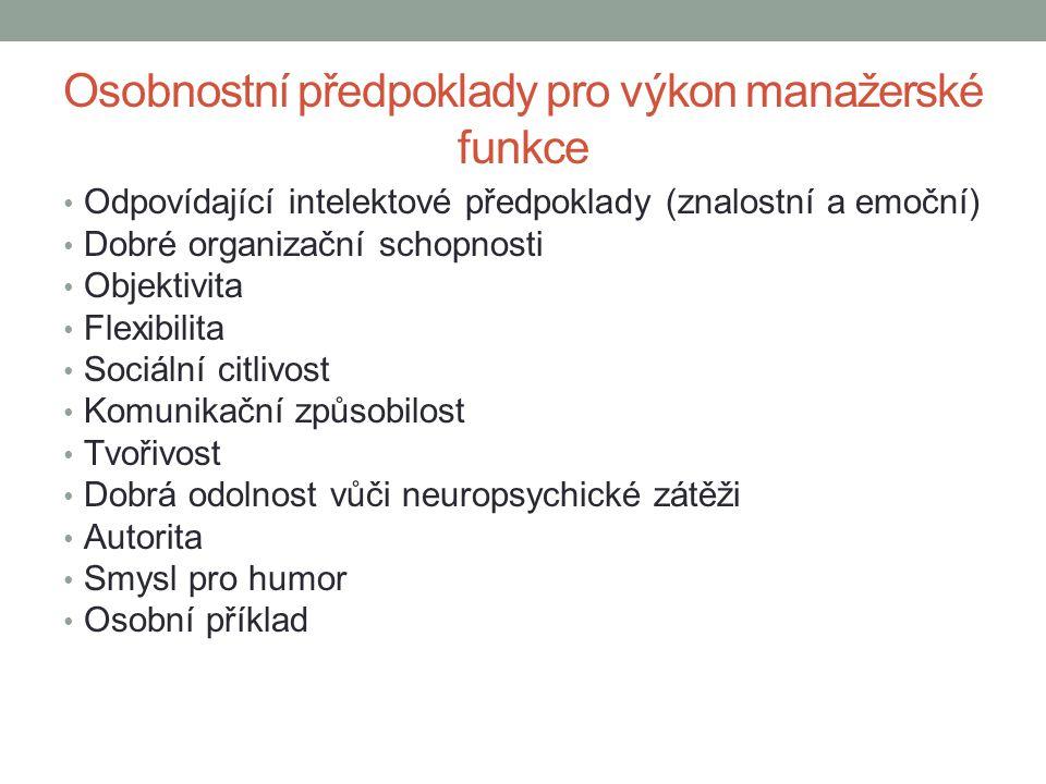 Osobnostní předpoklady pro výkon manažerské funkce • Odpovídající intelektové předpoklady (znalostní a emoční) • Dobré organizační schopnosti • Objekt