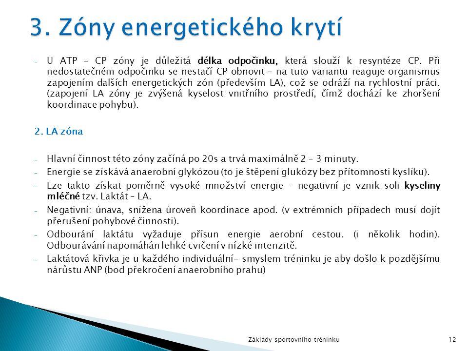 - U ATP – CP zóny je důležitá délka odpočinku, která slouží k resyntéze CP. Při nedostatečném odpočinku se nestačí CP obnovit – na tuto variantu reagu