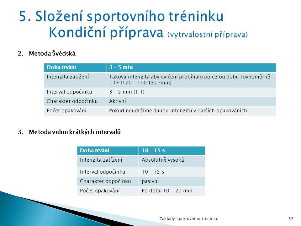 2.Metoda Švédská 3.Metoda velmi krátkých intervalů Základy sportovního tréninku37 Doba trvání3 – 5 min Intenzita zatíženíTaková intenzita aby cvičení probíhalo po celou dobu rovnoměrně – TF (170 – 190 tep./min) Interval odpočinku3 – 5 min (1:1) Charakter odpočinkuAktivní Počet opakováníPokud neudržíme danou intenzitu v dalších opakováních Doba trvání10 – 15 s Intenzita zatíženíAbsolutně vysoká Interval odpočinku10 – 15 s Charakter odpočinkupasivní Počet opakováníPo dobu 10 – 20 min