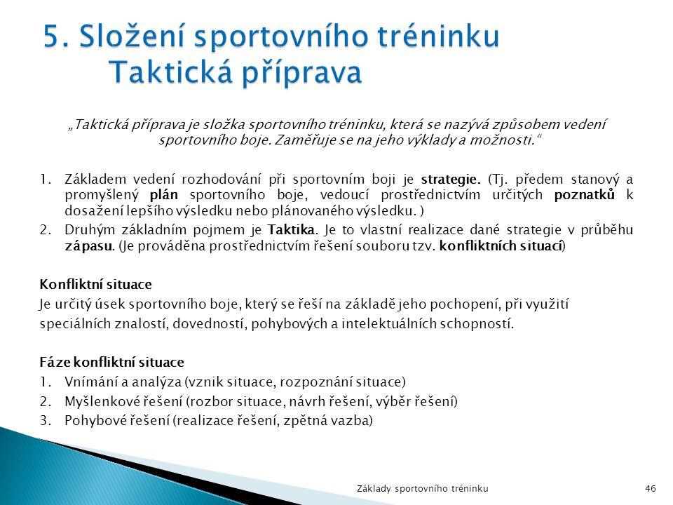 """""""Taktická příprava je složka sportovního tréninku, která se nazývá způsobem vedení sportovního boje."""