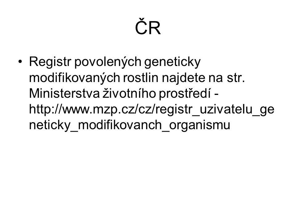 ČR •Registr povolených geneticky modifikovaných rostlin najdete na str. Ministerstva životního prostředí - http://www.mzp.cz/cz/registr_uzivatelu_ge n