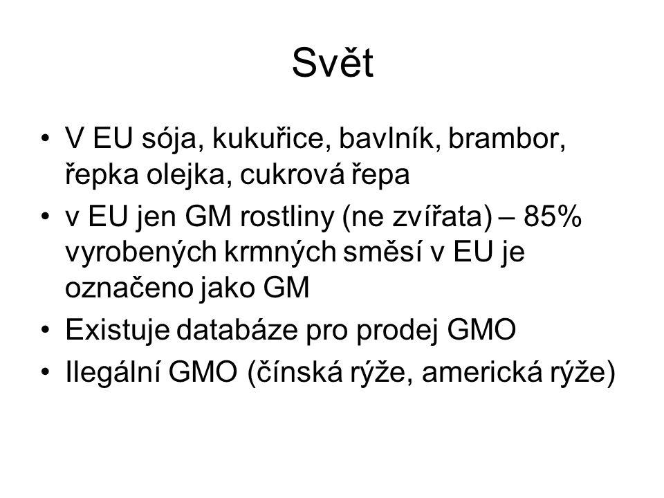 Svět •V EU sója, kukuřice, bavlník, brambor, řepka olejka, cukrová řepa •v EU jen GM rostliny (ne zvířata) – 85% vyrobených krmných směsí v EU je ozna