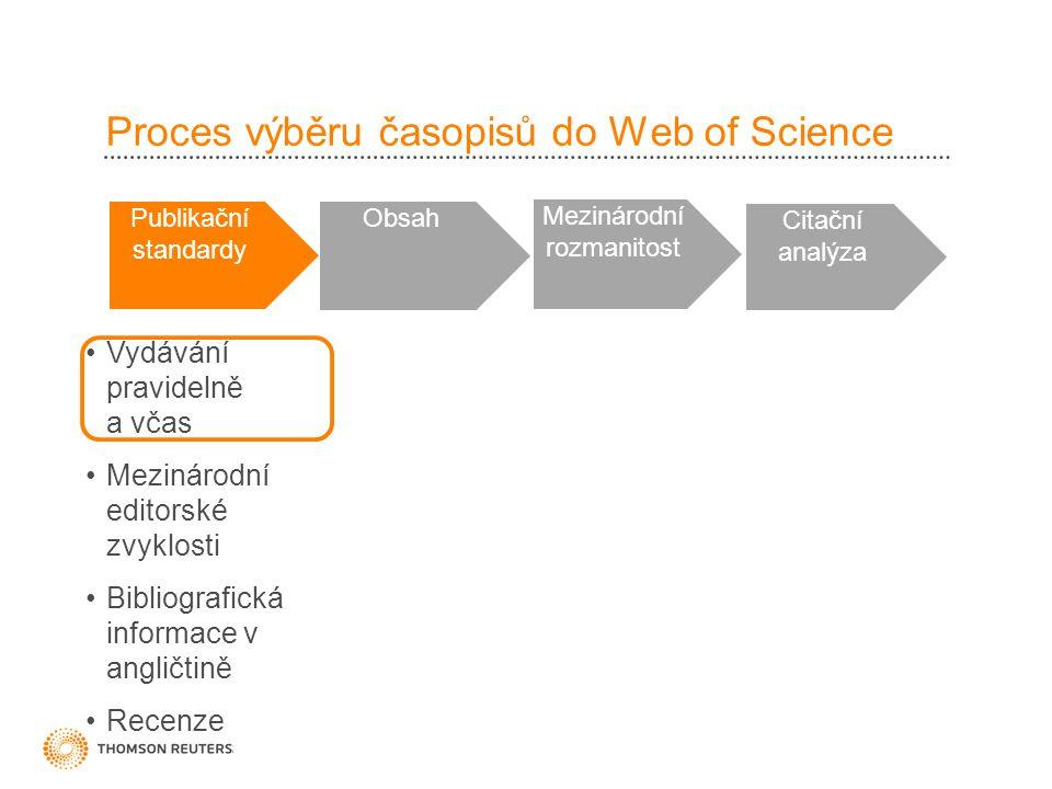 Proces výběru časopisů do Web of Science Publikační standardy Obsah Mezinárodní rozmanitost Citační analýza •Vydávání pravidelně a včas •Mezinárodní editorské zvyklosti •Bibliografická informace v angličtině •Recenze