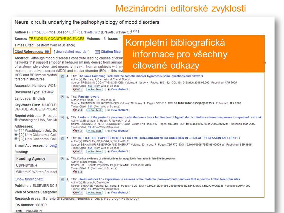 13 Mezinárodní editorské zvyklosti Kompletní bibliografická informace pro všechny citované odkazy