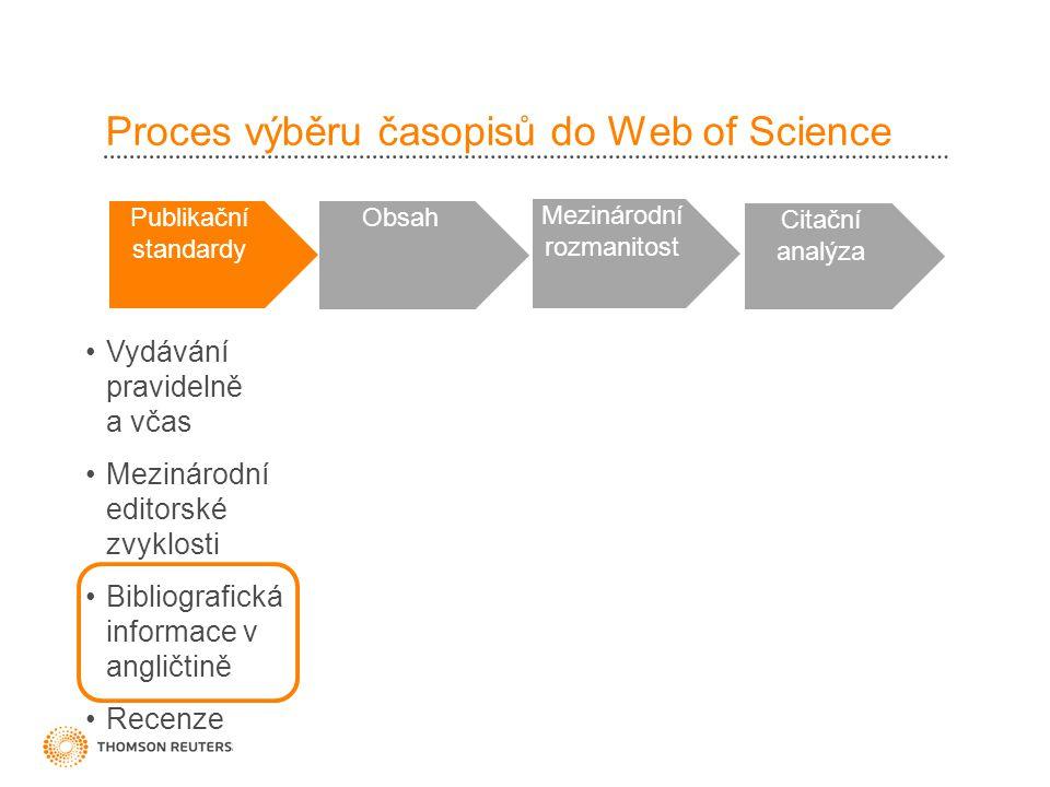Proces výběru časopisů do Web of Science Publikační standardy Obsah Mezinárodní rozmanitost Citační analýza •Vydávání pravidelně a včas •Mezinárodní e