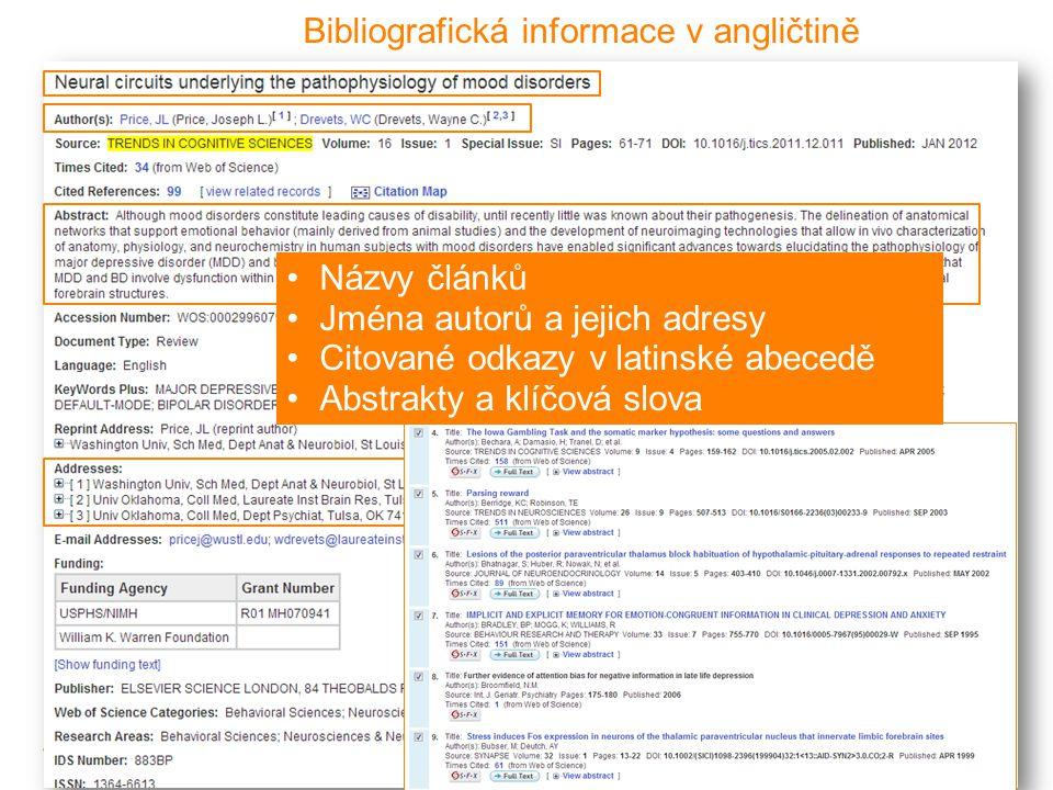 Bibliografická informace v angličtině •Názvy článků •Jména autorů a jejich adresy •Citované odkazy v latinské abecedě •Abstrakty a klíčová slova