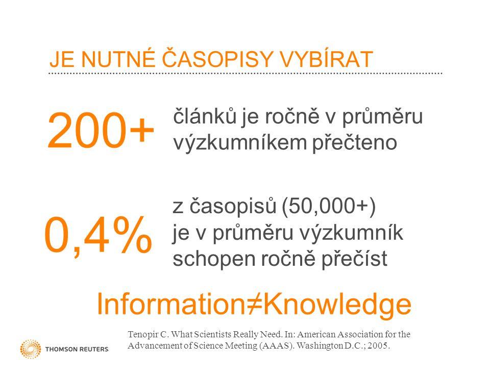 JE NUTNÉ ČASOPISY VYBÍRAT článků je ročně v průměru výzkumníkem přečteno 200+ z časopisů (50,000+) je v průměru výzkumník schopen ročně přečíst 0,4% Tenopir C.