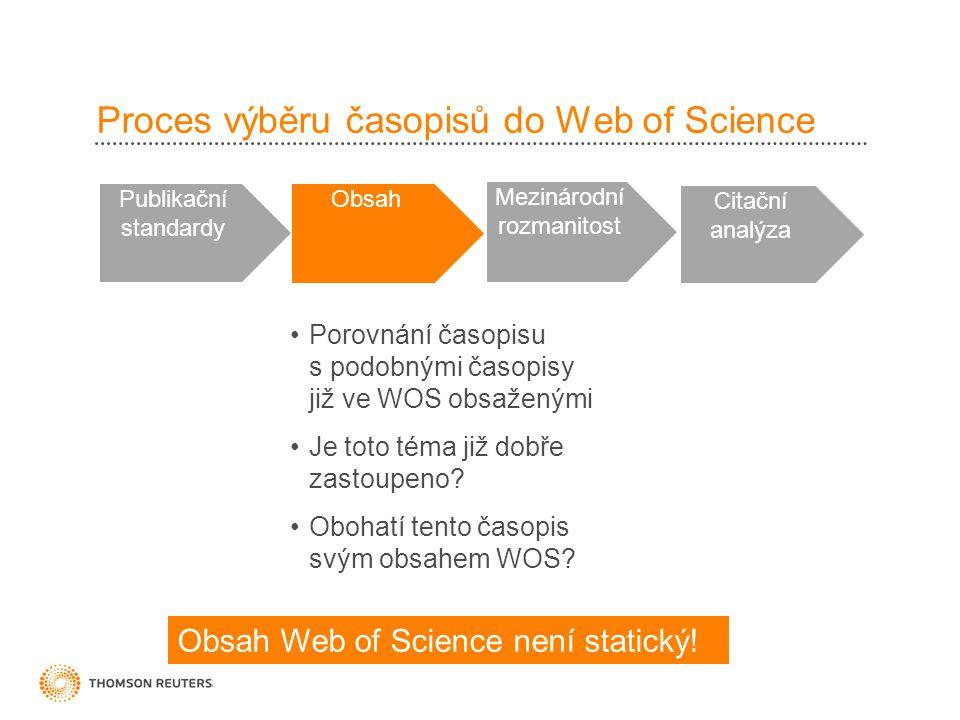 Proces výběru časopisů do Web of Science Publikační standardy Obsah Mezinárodní rozmanitost Citační analýza •Porovnání časopisu s podobnými časopisy již ve WOS obsaženými •Je toto téma již dobře zastoupeno.