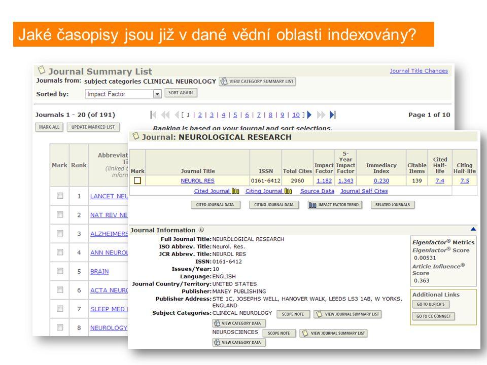 What journals are covered in specific subject category? Jaké časopisy jsou již v dané vědní oblasti indexovány?