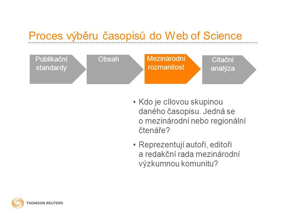 Proces výběru časopisů do Web of Science Publikační standardy Obsah Mezinárodní rozmanitost Citační analýza •Kdo je cílovou skupinou daného časopisu.