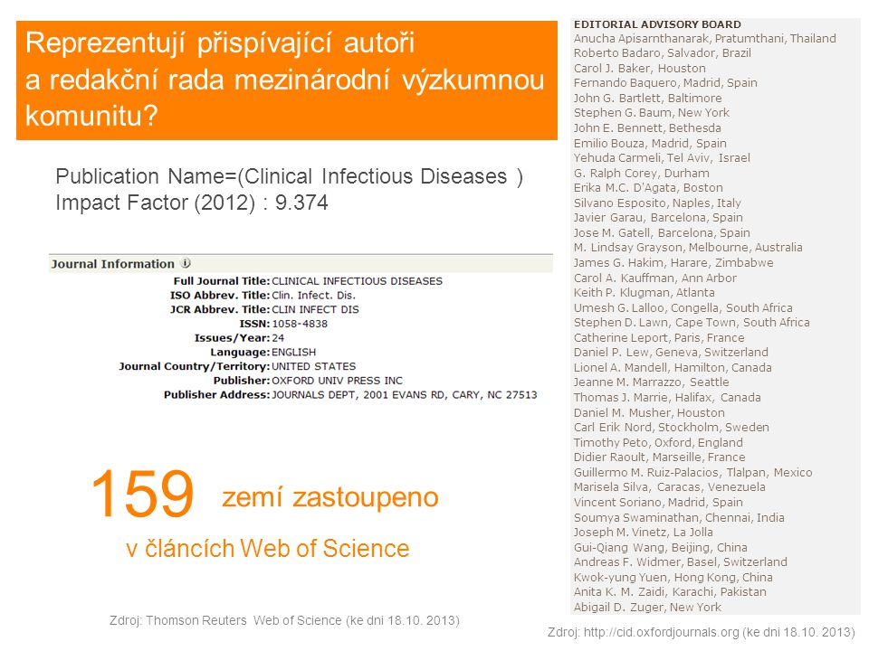 Publication Name=(Clinical Infectious Diseases ) Impact Factor (2012) : 9.374 EDITORIAL ADVISORY BOARD Anucha Apisarnthanarak, Pratumthani, Thailand Roberto Badaro, Salvador, Brazil Carol J.