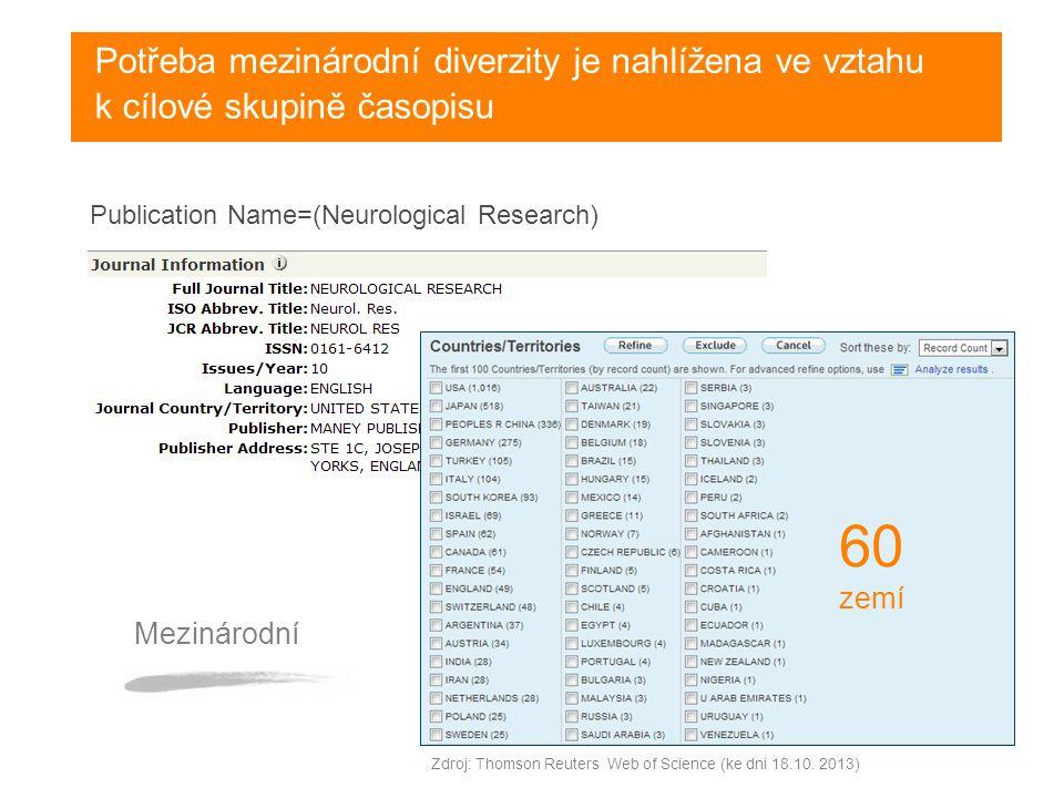 Publication Name=(Neurological Research) Potřeba mezinárodní diverzity je nahlížena ve vztahu k cílové skupině časopisu 60 zemí Mezinárodní Zdroj: Thomson Reuters Web of Science (ke dni 18.10.