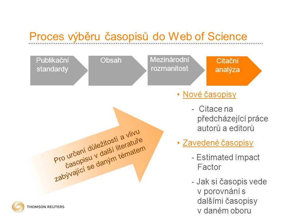 Proces výběru časopisů do Web of Science Publikační standardy Obsah Mezinárodní rozmanitost Citační analýza •Nové časopisy - Citace na předcházející p
