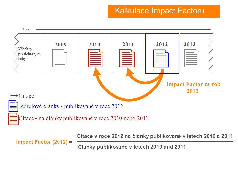 Impact Factor (2012) = Citace v roce 2012 na články publikované v letech 2010 a 2011 Články publikované v letech 2010 and 2011 20122011 2010 Zdrojové články - publikované v roce 2012 Citace - na články publikované v roce 2010 nebo 2011 Citace Impact Factor za rok 2012 Všechny předcházející roky 2009 2013 Čas Kalkulace Impact Factoru