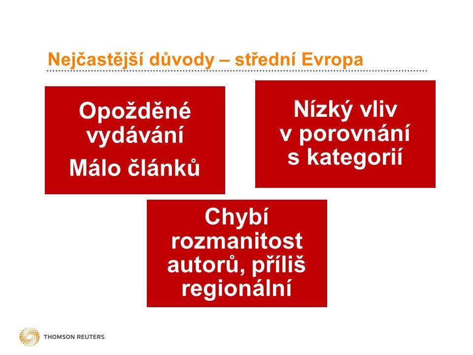 Nejčastější důvody – střední Evropa Opožděné vydávání Málo článků Nízký vliv v porovnání s kategorií Chybí rozmanitost autorů, příliš regionální