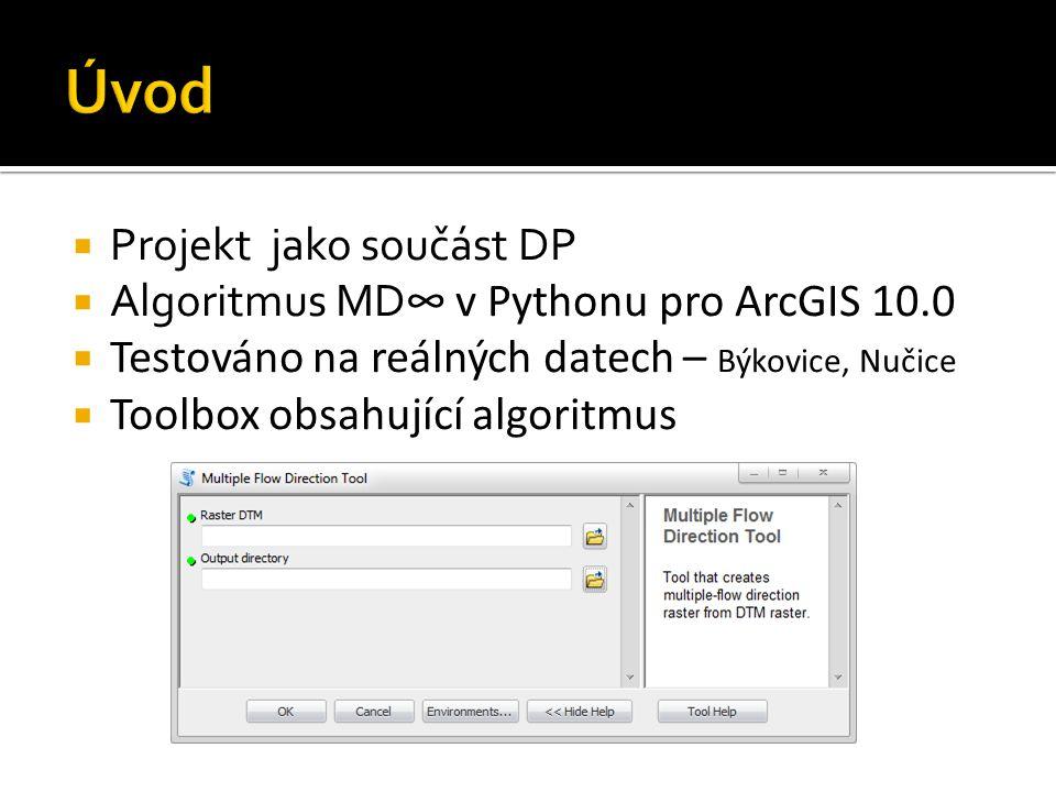  Projekt jako součást DP  Algoritmus MD ∞ v Pythonu pro ArcGIS 10.0  Testováno na reálných datech – Býkovice, Nučice  Toolbox obsahující algoritmus