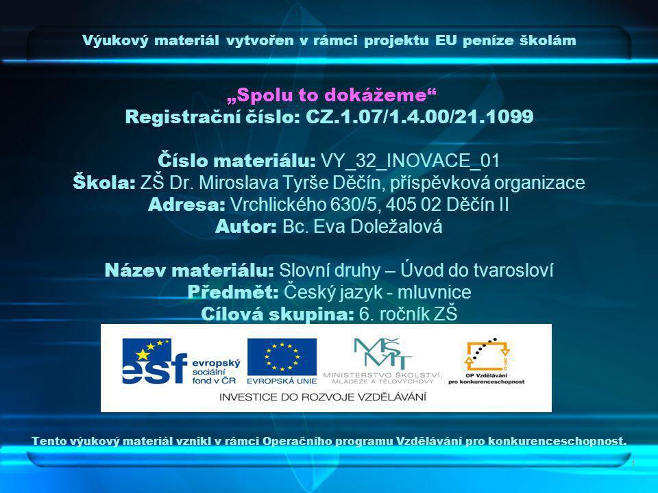 """Výukový materiál vytvořen v rámci projektu EU peníze školám """"Spolu to dokážeme Registrační číslo: CZ.1.07/1.4.00/21.1099 Číslo materiálu: VY_32_INOVACE_01 Škola: ZŠ Dr."""